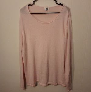 Pink Lightweight Knit Sweater with Raw Edge Neck